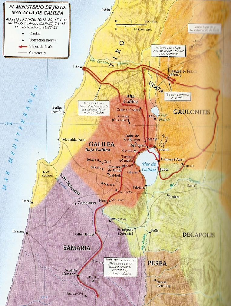 Ministerio de Jesús mas allá de Galilea